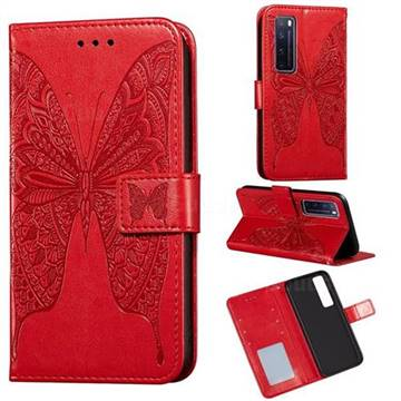 Intricate Embossing Vivid Butterfly Leather Wallet Case for Huawei nova 7 Pro 5G - Red