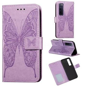 Intricate Embossing Vivid Butterfly Leather Wallet Case for Huawei nova 7 Pro 5G - Purple