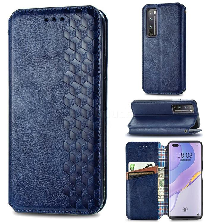 Ultra Slim Fashion Business Card Magnetic Automatic Suction Leather Flip Cover for Huawei nova 7 Pro 5G - Dark Blue