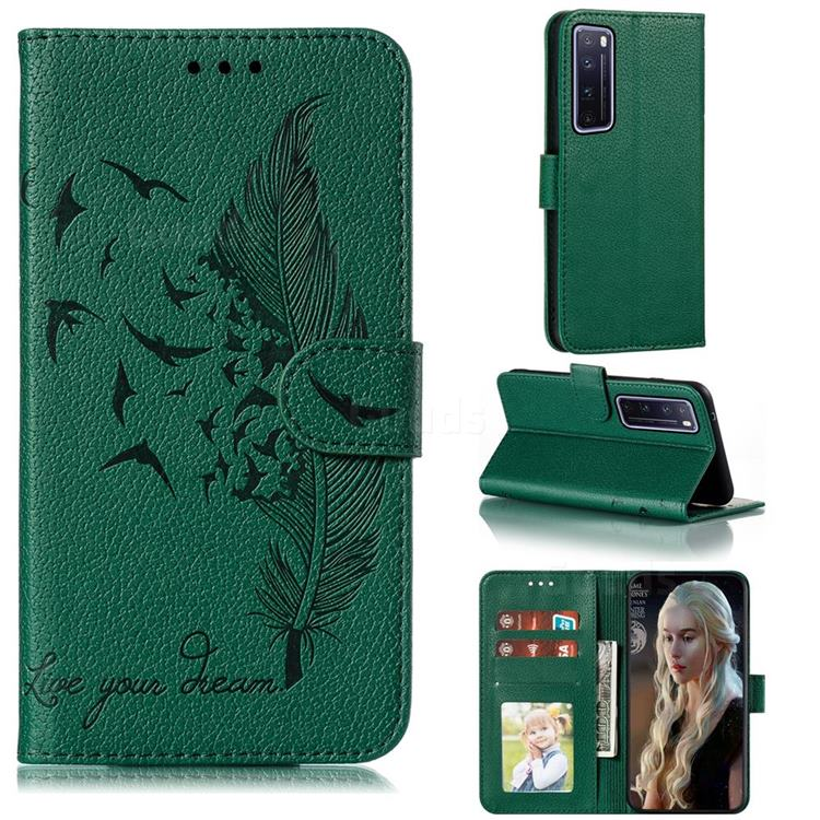 Intricate Embossing Lychee Feather Bird Leather Wallet Case for Huawei nova 7 Pro 5G - Green
