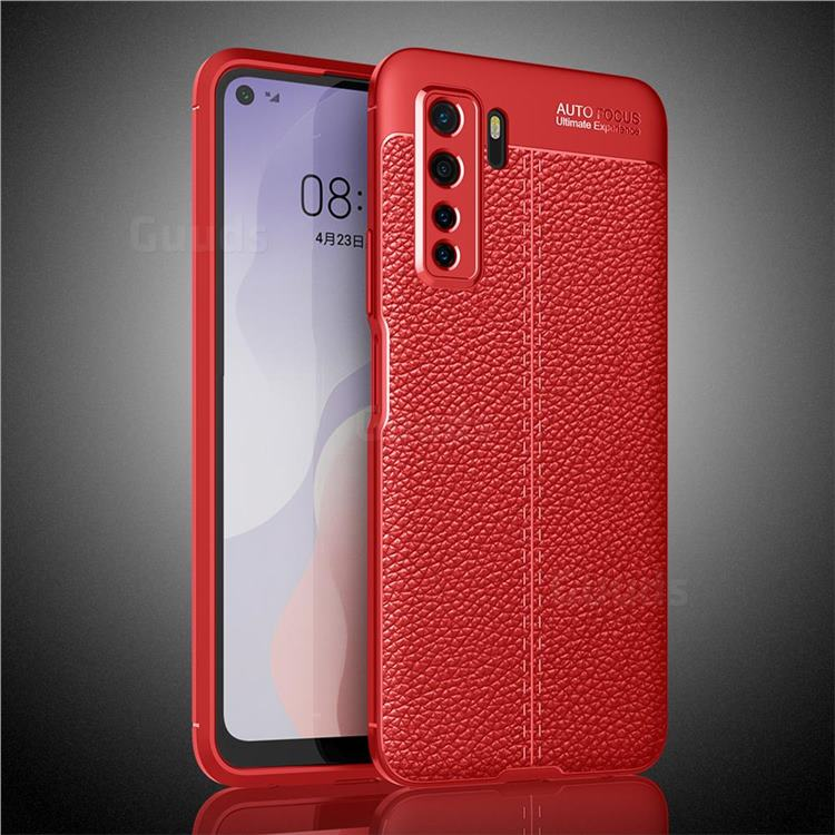 Luxury Auto Focus Litchi Texture Silicone TPU Back Cover for Huawei nova 7 SE - Red