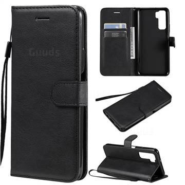 Retro Greek Classic Smooth PU Leather Wallet Phone Case for Huawei nova 7 SE - Black