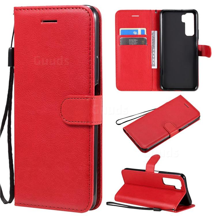 Retro Greek Classic Smooth PU Leather Wallet Phone Case for Huawei nova 7 SE - Red