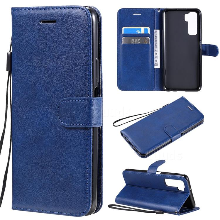 Retro Greek Classic Smooth PU Leather Wallet Phone Case for Huawei nova 7 SE - Blue