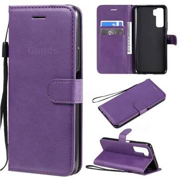Retro Greek Classic Smooth PU Leather Wallet Phone Case for Huawei nova 7 SE - Purple