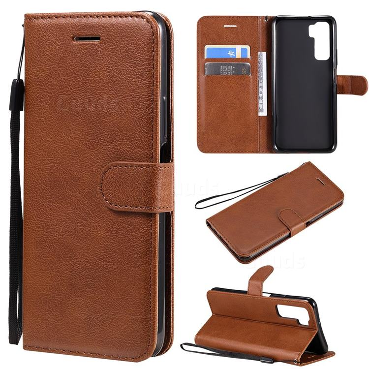 Retro Greek Classic Smooth PU Leather Wallet Phone Case for Huawei nova 7 SE - Brown