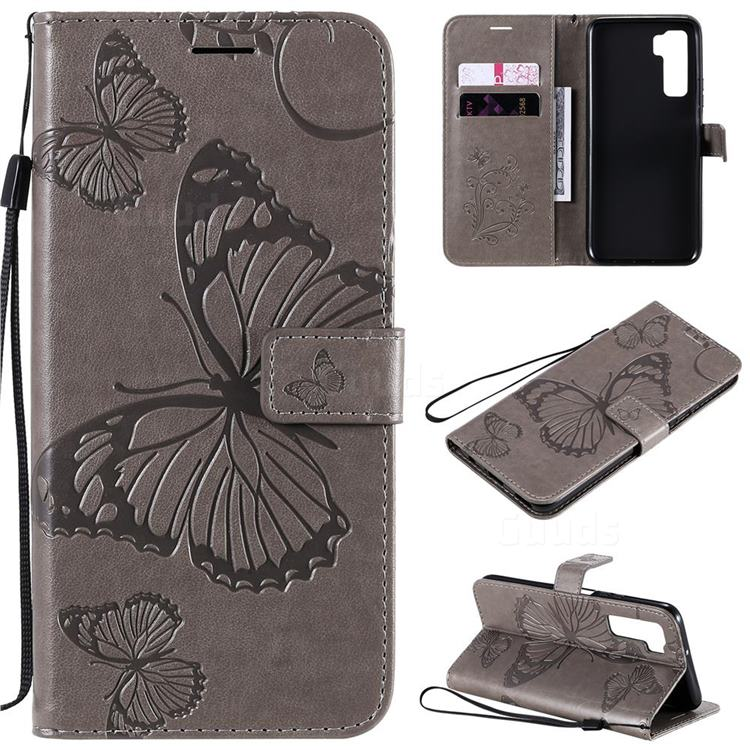 Embossing 3D Butterfly Leather Wallet Case for Huawei nova 7 SE - Gray