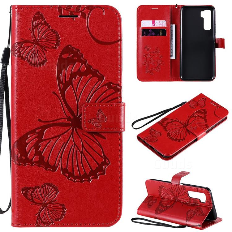 Embossing 3D Butterfly Leather Wallet Case for Huawei nova 7 SE - Red