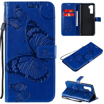 Embossing 3D Butterfly Leather Wallet Case for Huawei nova 7 SE - Blue