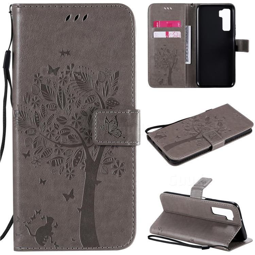 Embossing Butterfly Tree Leather Wallet Case for Huawei nova 7 SE - Grey