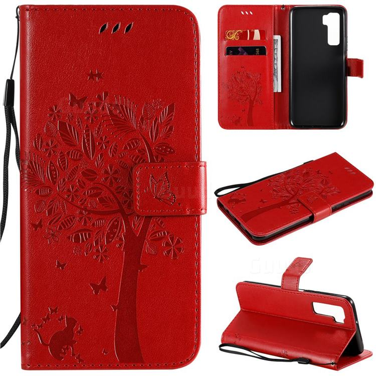 Embossing Butterfly Tree Leather Wallet Case for Huawei nova 7 SE - Red