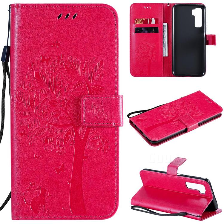 Embossing Butterfly Tree Leather Wallet Case for Huawei nova 7 SE - Rose
