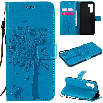 Embossing Butterfly Tree Leather Wallet Case for Huawei nova 7 SE - Blue
