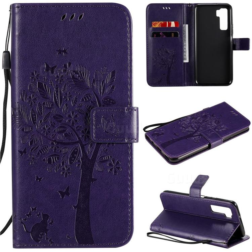Embossing Butterfly Tree Leather Wallet Case for Huawei nova 7 SE - Purple