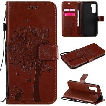 Embossing Butterfly Tree Leather Wallet Case for Huawei nova 7 SE - Coffee