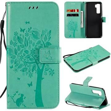 Embossing Butterfly Tree Leather Wallet Case for Huawei nova 7 SE - Cyan