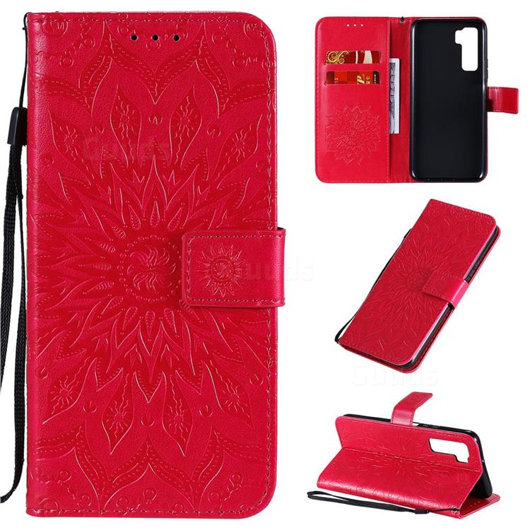 Embossing Sunflower Leather Wallet Case for Huawei nova 7 SE - Red