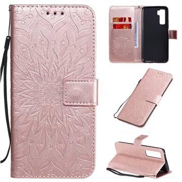 Embossing Sunflower Leather Wallet Case for Huawei nova 7 SE - Rose Gold