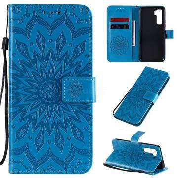 Embossing Sunflower Leather Wallet Case for Huawei nova 7 SE - Blue