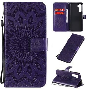 Embossing Sunflower Leather Wallet Case for Huawei nova 7 SE - Purple