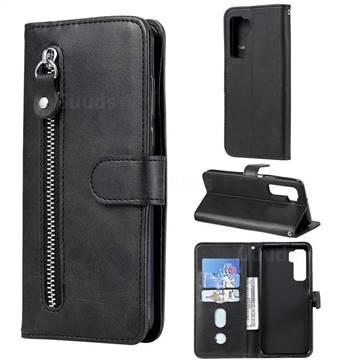 Retro Luxury Zipper Leather Phone Wallet Case for Huawei nova 7 SE - Black