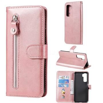 Retro Luxury Zipper Leather Phone Wallet Case for Huawei nova 7 SE - Pink