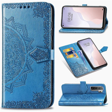 Embossing Imprint Mandala Flower Leather Wallet Case for Huawei nova 7 SE - Blue