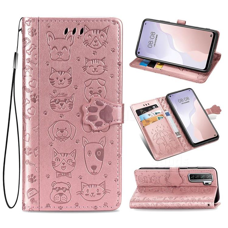 Embossing Dog Paw Kitten and Puppy Leather Wallet Case for Huawei nova 7 SE - Rose Gold
