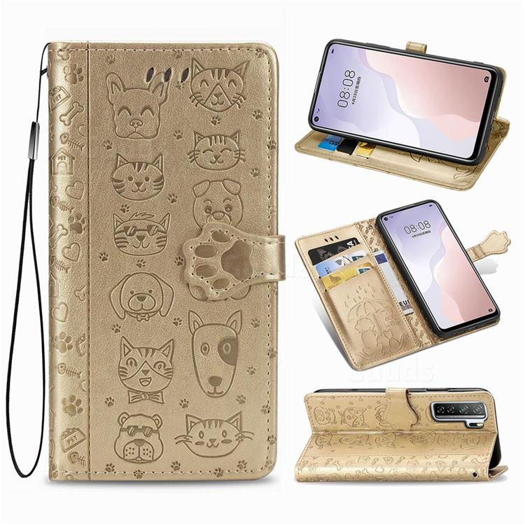 Embossing Dog Paw Kitten and Puppy Leather Wallet Case for Huawei nova 7 SE - Champagne Gold