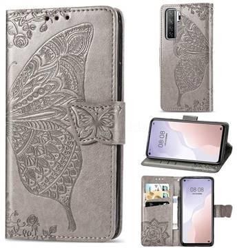 Embossing Mandala Flower Butterfly Leather Wallet Case for Huawei nova 7 SE - Gray