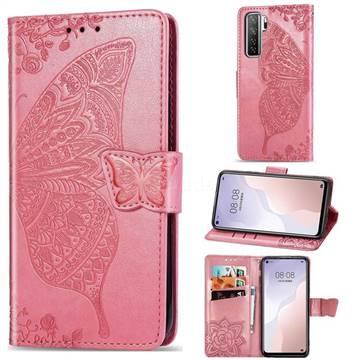 Embossing Mandala Flower Butterfly Leather Wallet Case for Huawei nova 7 SE - Pink