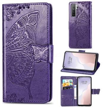 Embossing Mandala Flower Butterfly Leather Wallet Case for Huawei nova 7 SE - Dark Purple