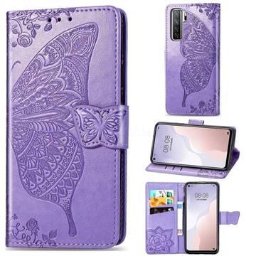 Embossing Mandala Flower Butterfly Leather Wallet Case for Huawei nova 7 SE - Light Purple