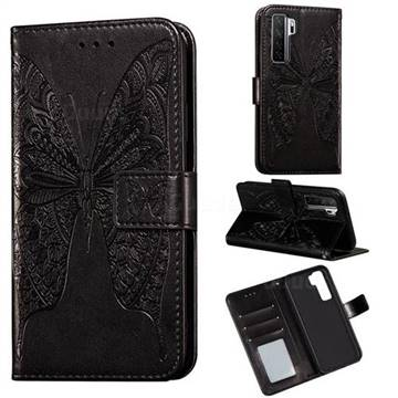 Intricate Embossing Vivid Butterfly Leather Wallet Case for Huawei nova 7 SE - Black