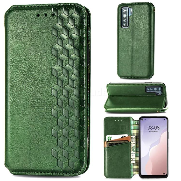 Ultra Slim Fashion Business Card Magnetic Automatic Suction Leather Flip Cover for Huawei nova 7 SE - Green