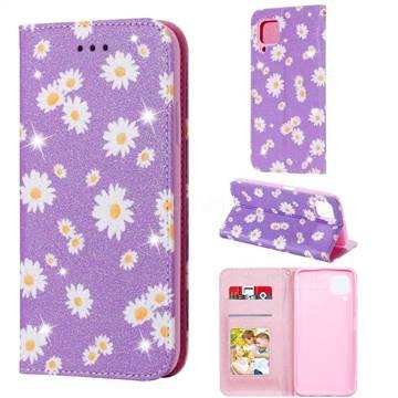 Ultra Slim Daisy Sparkle Glitter Powder Magnetic Leather Wallet Case for Huawei nova 7i - Purple