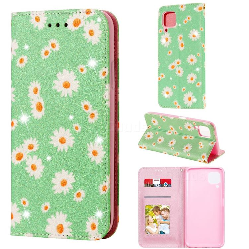 Ultra Slim Daisy Sparkle Glitter Powder Magnetic Leather Wallet Case for Huawei nova 7i - Green