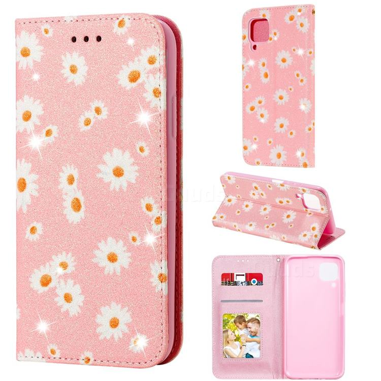 Ultra Slim Daisy Sparkle Glitter Powder Magnetic Leather Wallet Case for Huawei nova 7i - Pink
