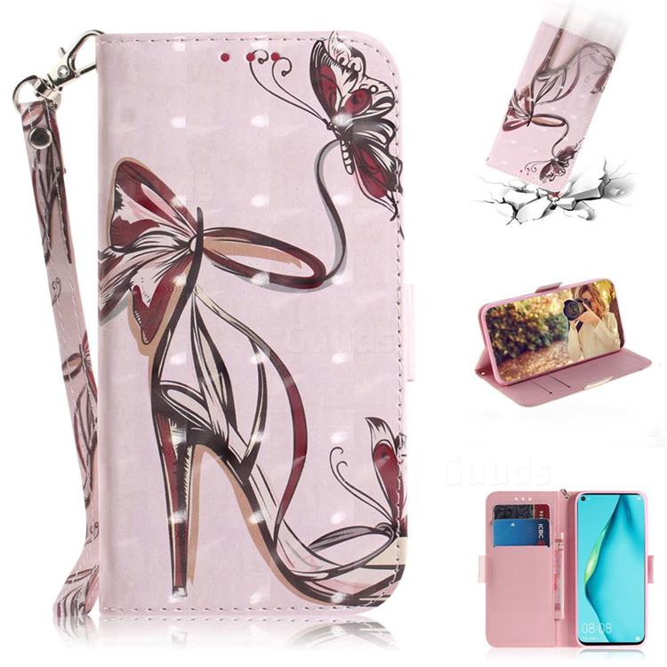 Butterfly High Heels 3D Painted Leather Wallet Phone Case for Huawei nova 7i