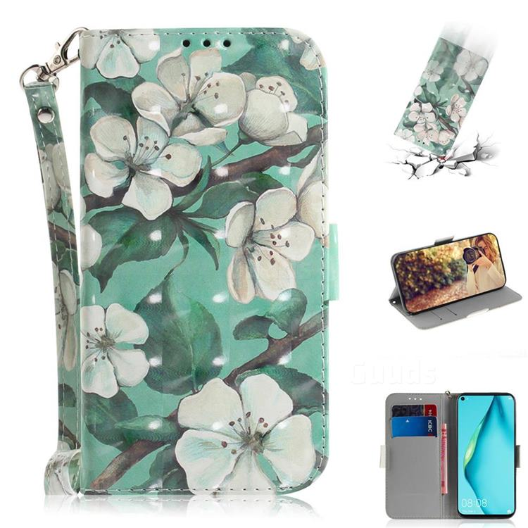 Watercolor Flower 3D Painted Leather Wallet Phone Case for Huawei nova 7i