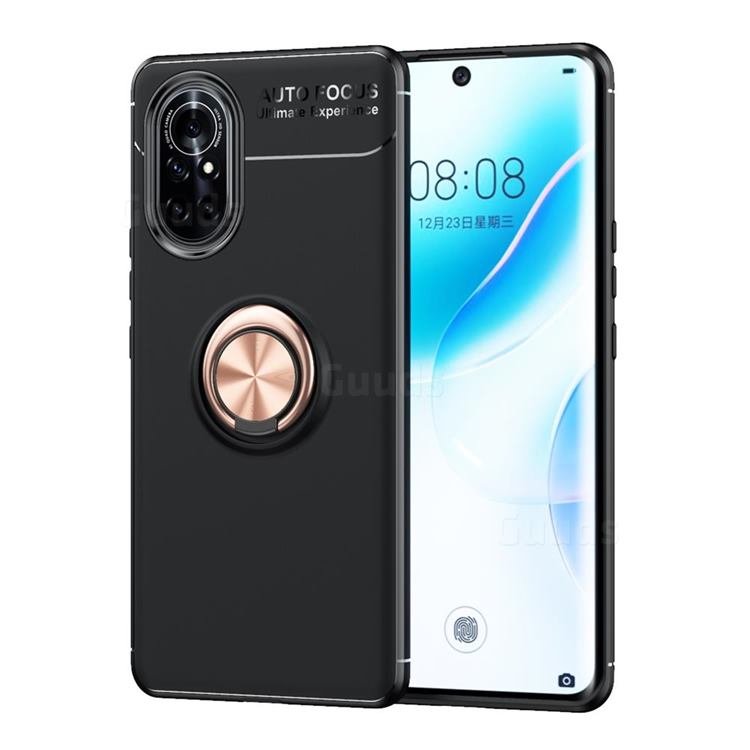 Auto Focus Invisible Ring Holder Soft Phone Case for Huawei nova 8 - Black Gold