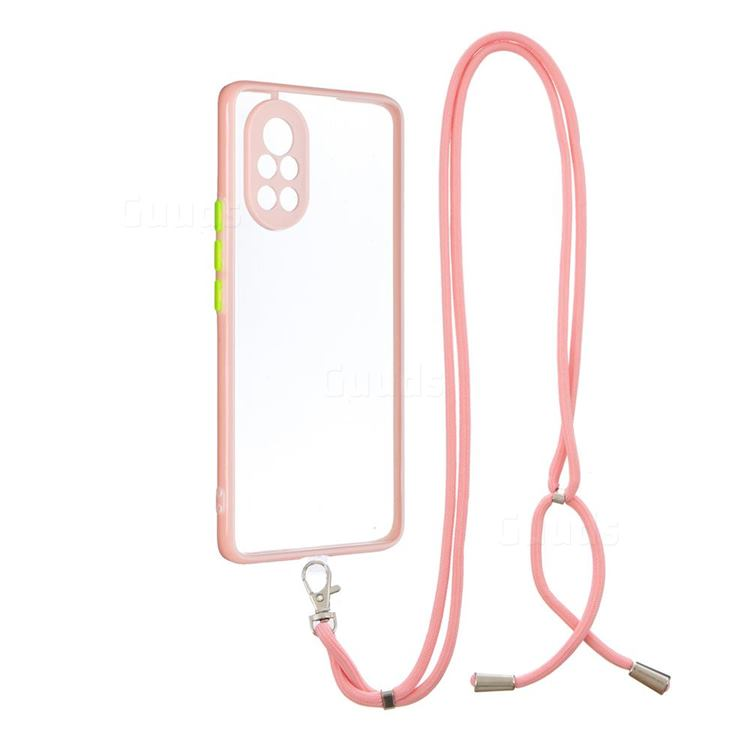 Necklace Cross-body Lanyard Strap Cord Phone Case Cover for Huawei nova 8 - Pink
