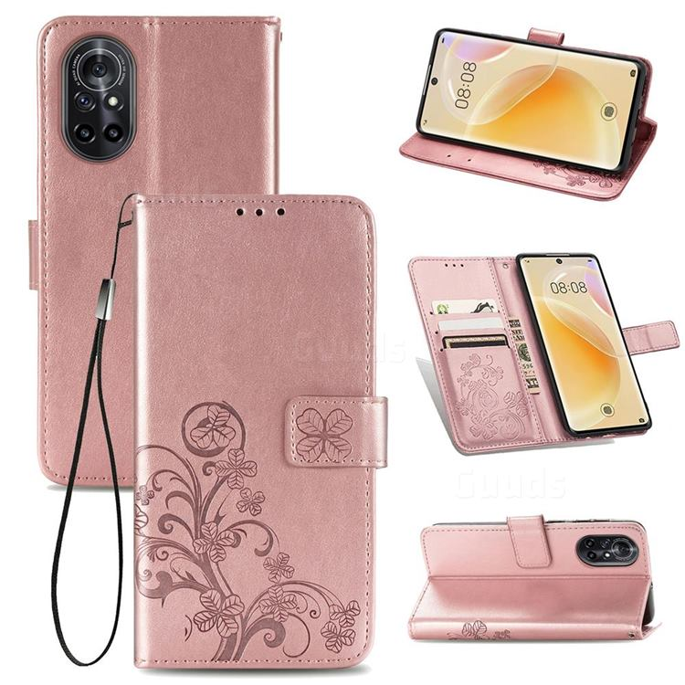 Embossing Imprint Four-Leaf Clover Leather Wallet Case for Huawei nova 8 - Rose Gold