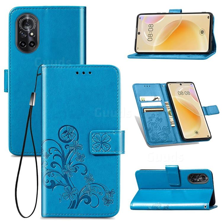 Embossing Imprint Four-Leaf Clover Leather Wallet Case for Huawei nova 8 - Blue