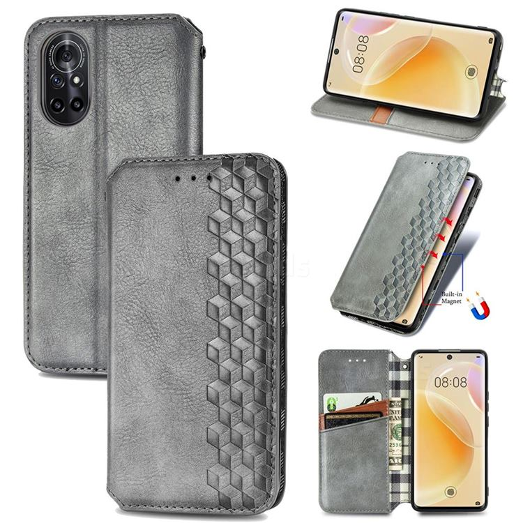Ultra Slim Fashion Business Card Magnetic Automatic Suction Leather Flip Cover for Huawei nova 8 - Grey
