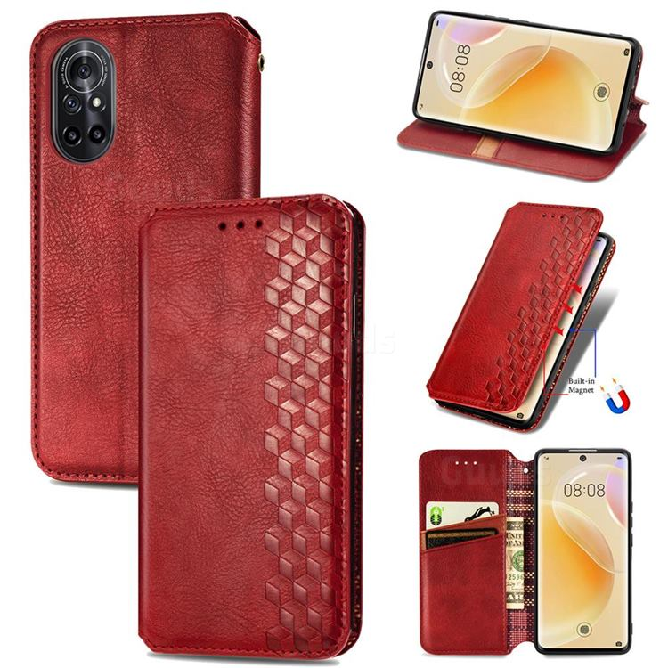 Ultra Slim Fashion Business Card Magnetic Automatic Suction Leather Flip Cover for Huawei nova 8 - Red