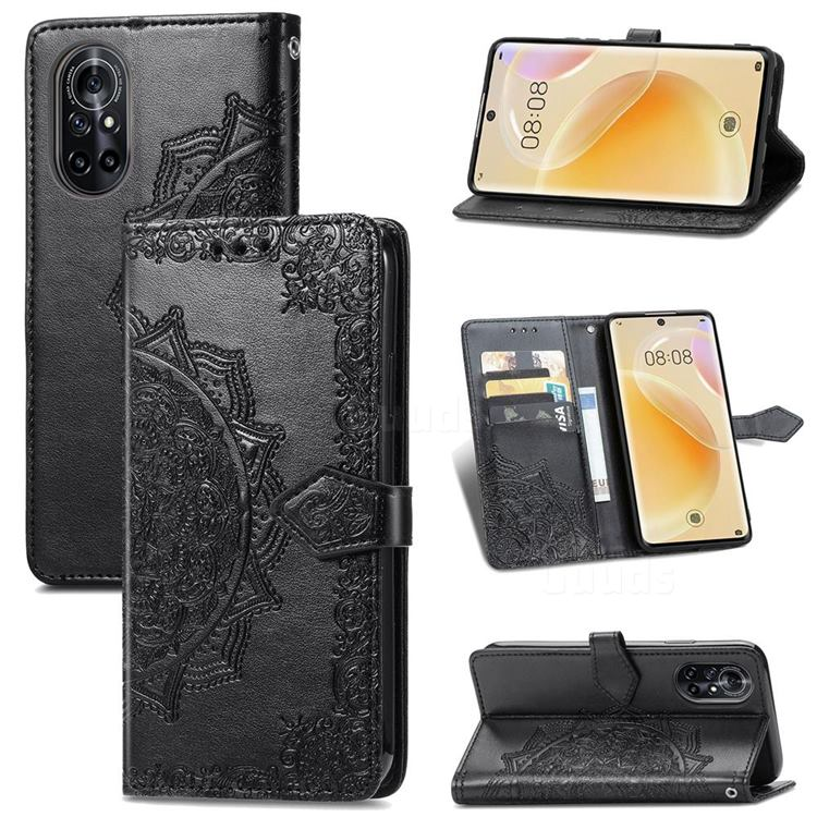 Embossing Imprint Mandala Flower Leather Wallet Case for Huawei nova 8 - Black