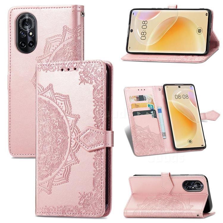 Embossing Imprint Mandala Flower Leather Wallet Case for Huawei nova 8 - Rose Gold