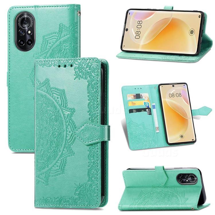 Embossing Imprint Mandala Flower Leather Wallet Case for Huawei nova 8 - Green