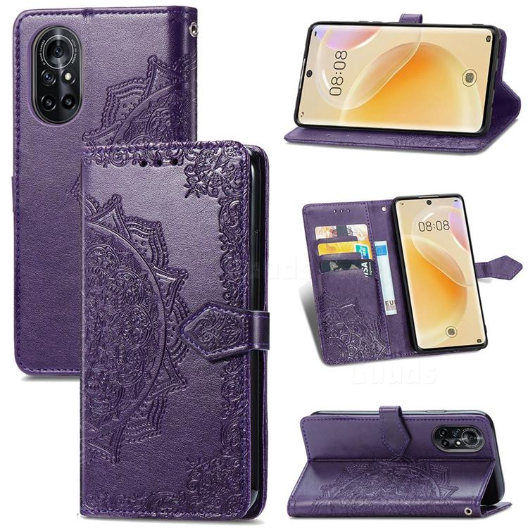 Embossing Imprint Mandala Flower Leather Wallet Case for Huawei nova 8 - Purple